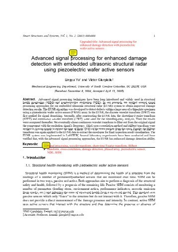 Advanced signal processing for enhanced damage detection with ...