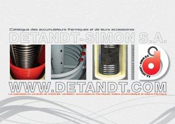 Catalogue des accumulateurs thermiques et de ... - Detandt-Simon