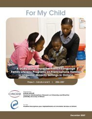 For My Child - Coalition ontarienne de formation des adultes