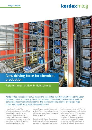 New driving force for chemical production - Kardex Mlog