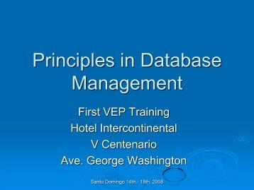 Principles in Data Base Management - Caribvet