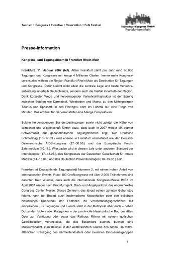 Kongress- und Tagungsboom - Region Frankfurt Rhein Main