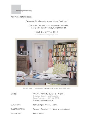 JUNE 9 – JULY 14, 2012 FRIDAY, JUNE 8, 2012, 6 – 9 pm - O'Born ...