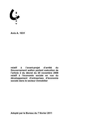 Avis A. 1031 - Conseil économique et social de la région wallonne