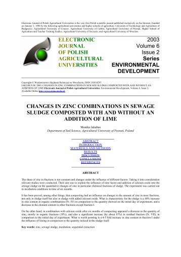 changes in zinc combinations in sewage sludge composted with ...