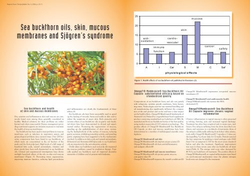 Sea buckthorn oils, skin, mucous membranes and Sjögren's syndrome