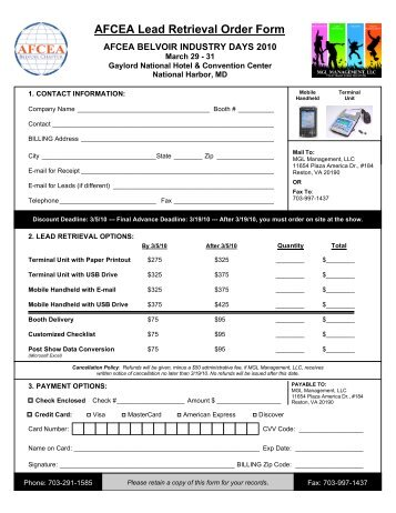 AFCEA Lead Retrieval Order Form - AFCEA Belvoir