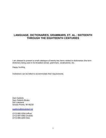 language, dictionaries, grammars, et. al.: sixteenth through the ...