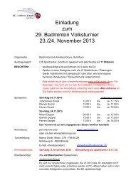 Einladung zum 29. Badminton Volksturnier 23./24. November 2013