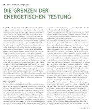 DIE GRENZEN DER ENERGETISCHEN TESTUNG - Cinak