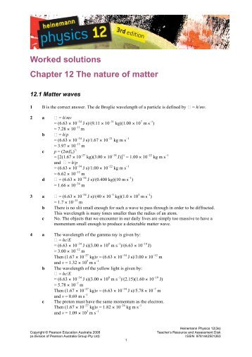 Worked solutions Chapter 12 The nature of matter - PEGSnet