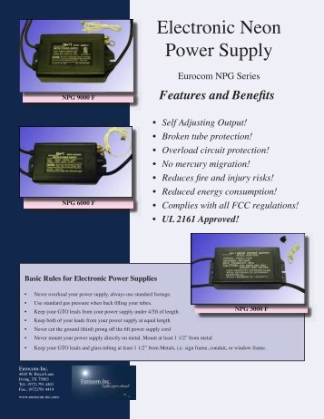 Electronic Neon Power Supply - signSearch