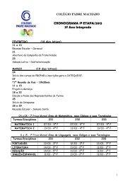 CRONOGRAMA DE PROVAS - Instituto Padre Machado