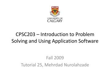 CPSC203 – Introduction to Problem Solving and Using Application ...
