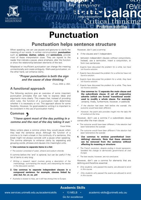 Punctuation - Student Services