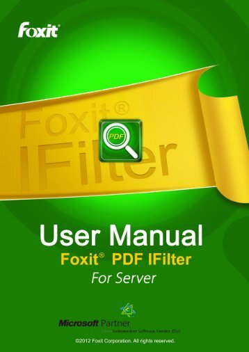Foxit PDF IFilter 2.0 User Manual