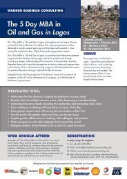 The 5 Day MBA in Oil and Gas in Lagos - Warren Business Consulting