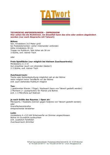 TECHNISCHE ANFORDERUNGEN - TATwort - Improvisationstheater