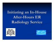 Initiating an In-House After-Hours ER Radiology Service - AAARAD