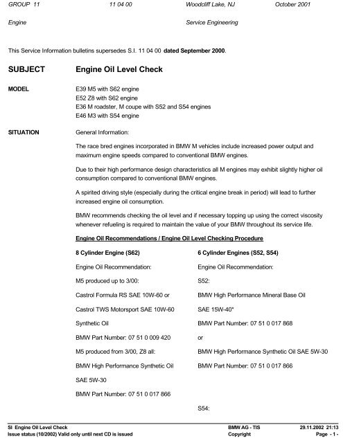 SUBJECT Engine Oil Level Check – BMW Z8 - Bmwz8.us