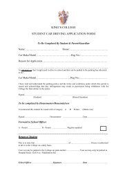 KING'S COLLEGE STUDENT CAR DRIVING APPLICATION FORM ...