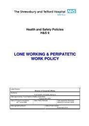 Lone Working Policy - Royal Shrewsbury Hospitals NHS Trust