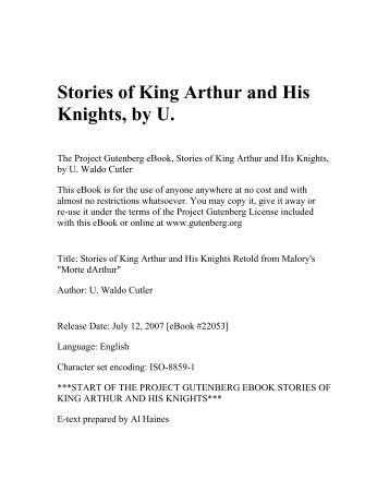 King Arthur And His Knights Of The Round Table Book 1 The