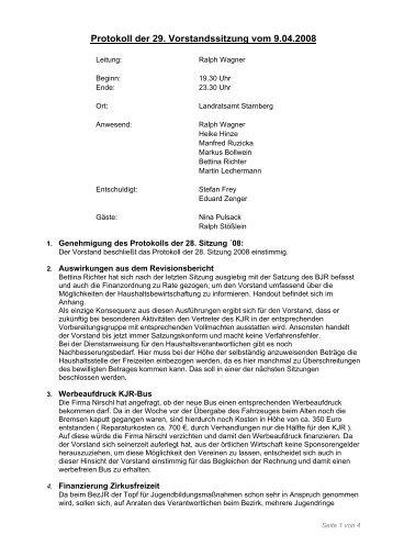 Protokoll der 29. Vorstandssitzung vom 9.04.2008