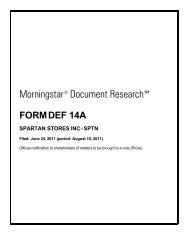 Morningstar® Document Research - SPTN   Spartan Stores News ...