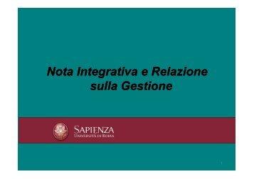La nota integrativa e la relazione sulla gestione - Sapienza ...