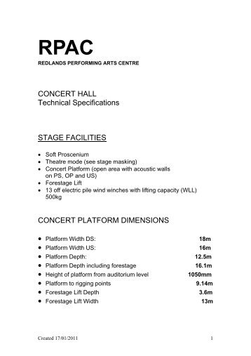 Technical Specifications - Redland Performing Arts Centre