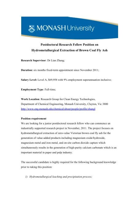 Postdoctoral Research Fellow Position on Hydrometallurgical
