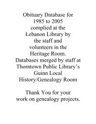 Obituary Database for 1985 to 2005 complied at the Lebanon ...
