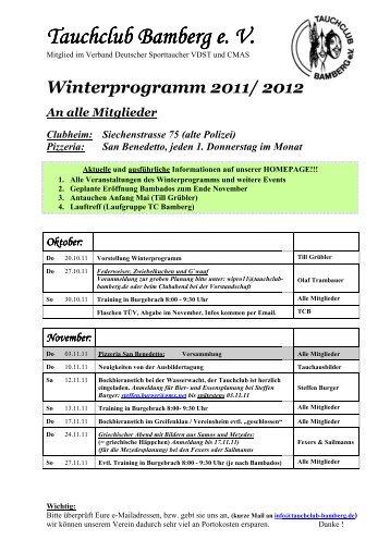 interprogramm 2011/ 2012 - Tauchclub Bamberg eV