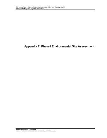 Appendix F: Phase I Environmental Site Assessment - The Harris ...