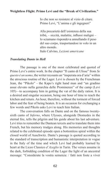 "Weightless Flight. Primo Levi and the ""Break of Civilization - NeMLA"