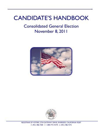 2011 Candidate Handbook - Riverside County Registrar of Voters