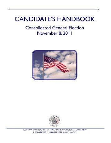 2011 Candidate Handbook - Riverside County Registrar of Voters
