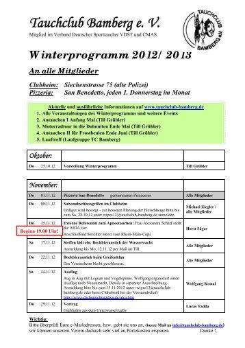Winterprogramm 2012 - Tauchclub Bamberg eV