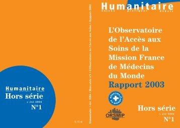 Revue Humanitaire - hors série n°1 - Médecins du Monde
