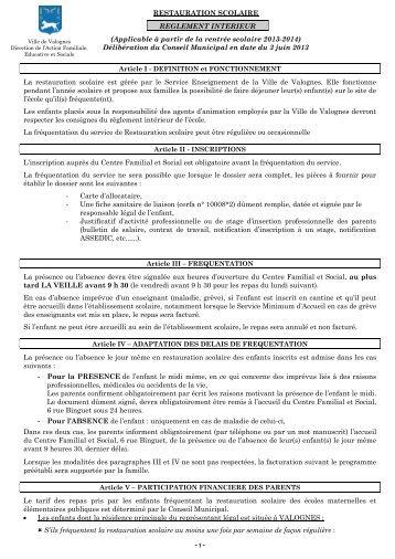 Règlement de la restauration scolaire - Valognes