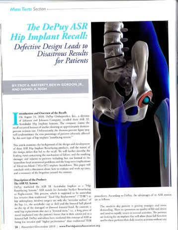 The DePuy ASR Hip Implant Recall: - Levin Papantonio Thomas ...