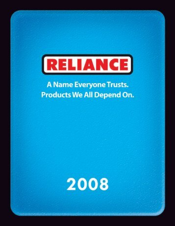 RELY ON US. - Reliance Products
