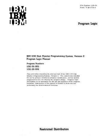 Program Logic Manual - All about the IBM 1130 Computing System