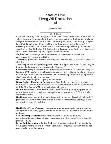 State of Ohio Living Will Declaration Donor Registry Enrollment ...