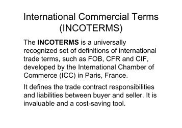 International Commercial Terms (INCOTERMS) - CTL