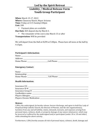 Unstoppable Retreat Liability / Medical Release Form Youth Group