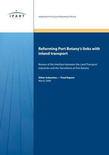 Reforming Port Botany's links with inland transport - Sydney Ports