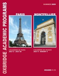 french language courses - Oxbridge Academic Programs
