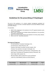 Leicestershire Guidelines for Prescribing Clopidogrel in Primary Care